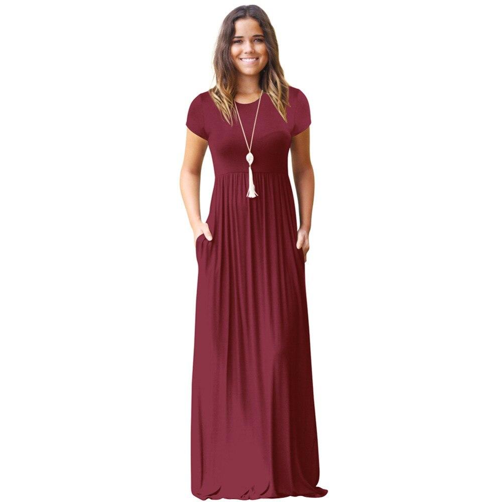 Casual Long Summer Dresses For Women 2018 Short Sleeve Pocket Floor ... 863d3702d