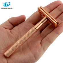 HAWARD Double Edge Safety Razor Made Of All-Copper Material Brand New Product Rose Gold Strong And Reliable 1 Razor 10 Blades