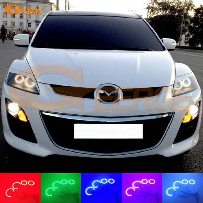 For Mazda cx 7 CX-7 2006 2007 2008 2009 2010 2011 2012 Excellent Multi-Color Ultra bright RGB LED Angel Eyes kit Halo Rings for honda cr v crv 2007 2008 2009 2010 2011 projector headlights excellent ultra bright smd led angel eyes halo ring kit