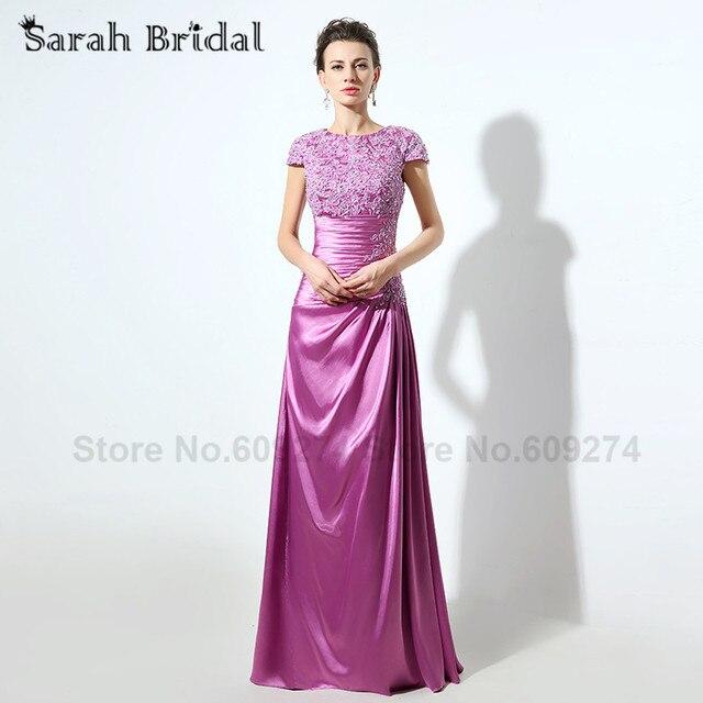 Lila Spitze Formales Abendkleid Luxus Kristalle Lange Prom Kleid ...