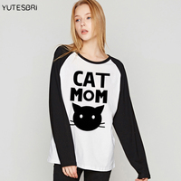 Cute Long Sleeves VOGUE Camisetas Cotton Raglan CAT MOM Funny T Shirt Casual Tee Shirt Femme