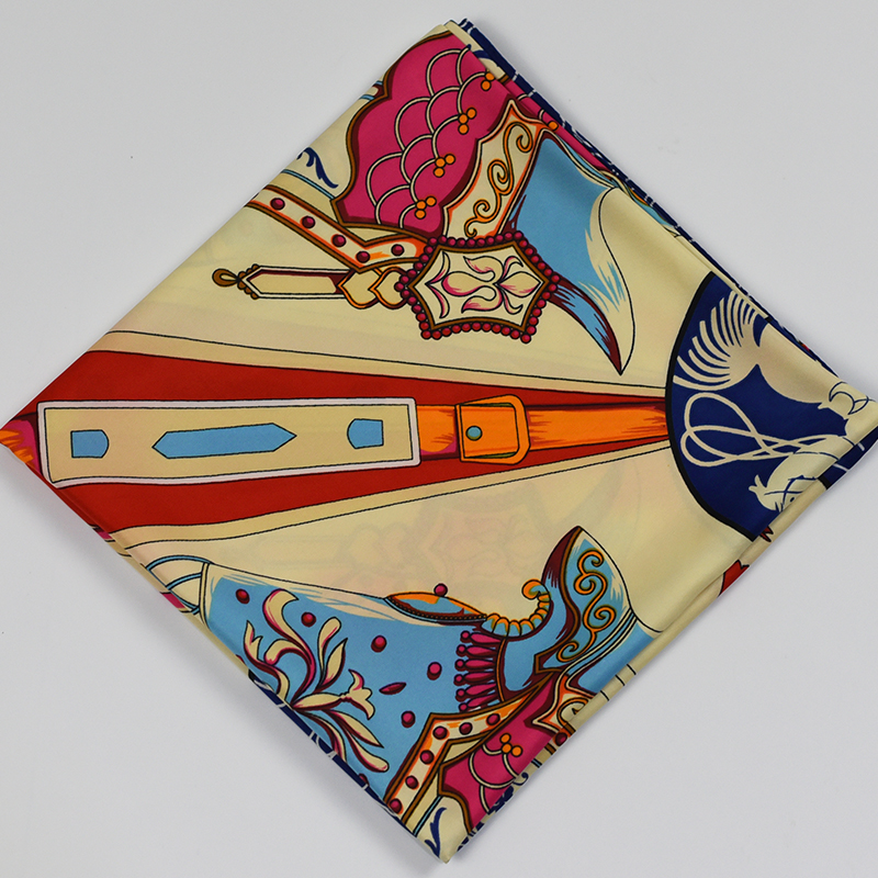 6934c82d6cd14 Vintage Designer Scarf 2016 Fashion Geometric Saber Horse Pattern Famous  Brand Women Silk Scarf Square Twill Hijab Scarf -in Women s Scarves from  Apparel ...
