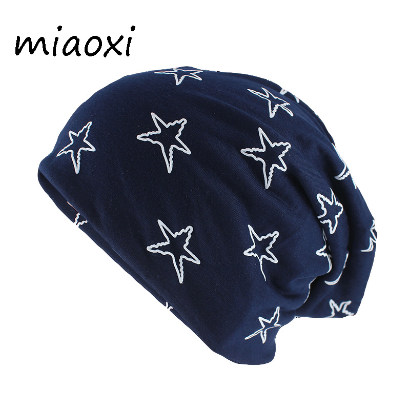 miaoxi Hip Hop Adult Unisex Autumn Warm Hat Hip Hop Women Star Beanies  Skullies Casual Gorros 701cf78d60e
