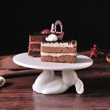 Креативная фарфоровая подставка для торта с кроликом декоративная керамическая сервировка десерта поднос для кекса декоративная столовая посуда подарочные принадлежности для рукоделия
