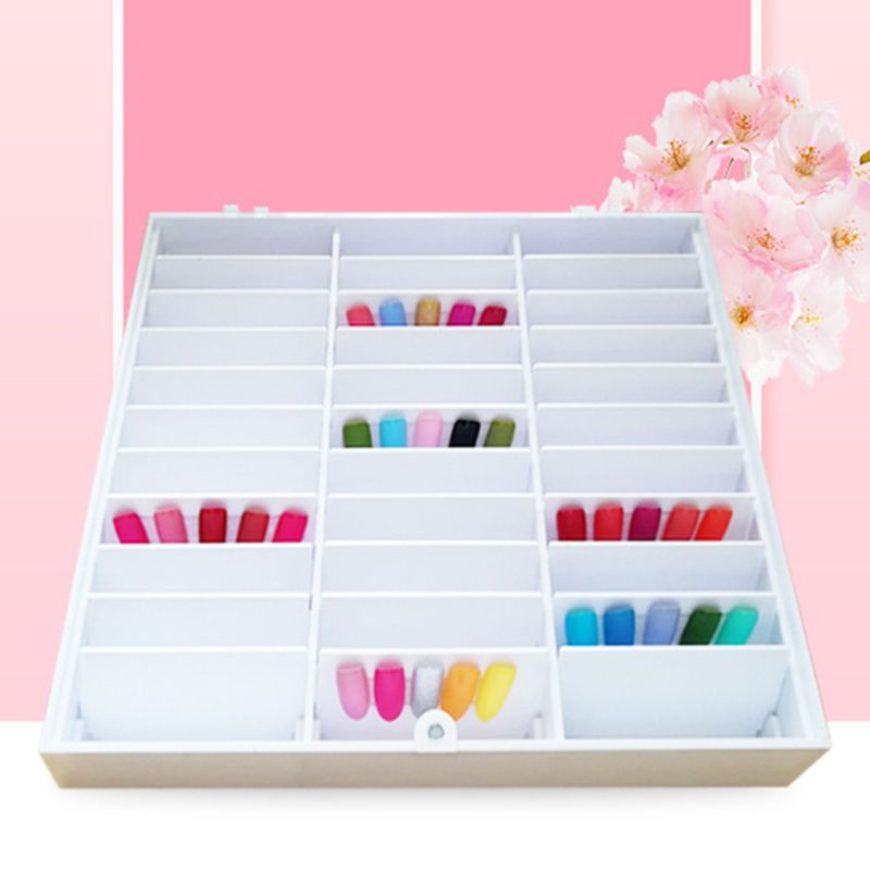 235x42x206mm Fake Nail Tips Storage Box 30 Compartments Nails Art Decoration Container Display Case