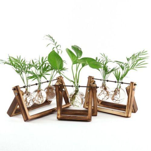 Творческий деревянная подставка стеклянный террариум контейнер гидропоники цветочный горшок для выращивания растений настольная ваза DIY Главная офисный, Свадебный декор