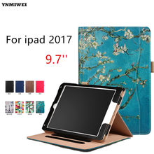 Tablet Case For iPad Air Air 2 ipad 9.7 2017 Ultra thin Flip Wallet Case PU Leather Cover For Apple Ipad 2017 2018 +Protector(China)