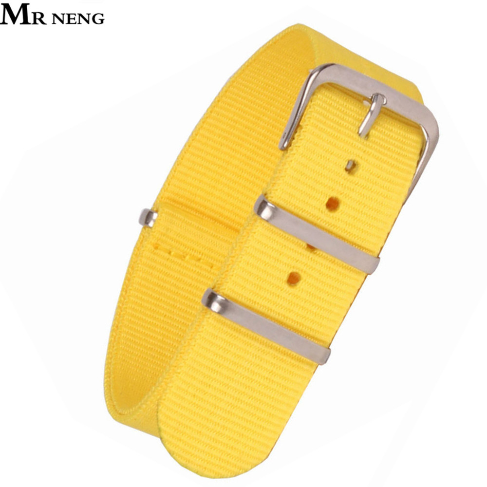 MR NENG Yellow Watch Band Classic 18 20mm Army Military nato fabric Nylon Watch watchbands Woven Straps Bands Buckle belt 20mm цена