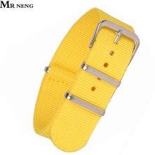 Ремешок для наручных часов MR NENG, классический желтый тканевый ремешок из нейлона в стиле милитари, 18-20 мм