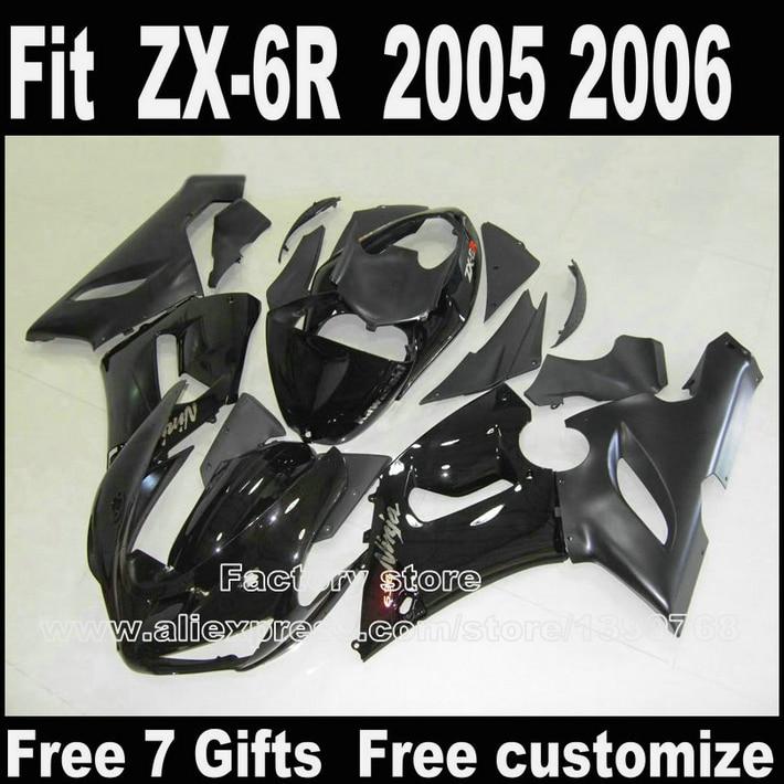 High quality Body kit for Kawasaki ZX6R fairings 2005 2006 all black ZX 6R 05 06