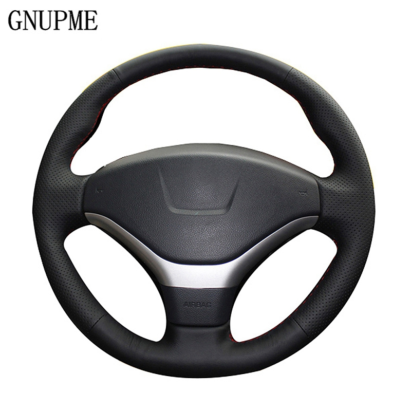 GNUPME Black Hand-stitched Genuine Leather Car Steering Wheel Cover for Peugeot 308/3008/408/508/301/307/2008 Steering Covers wcarfun hand stitched black leather steering wheel cover for peugeot 308 old peugeot 408