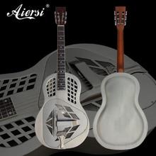 """""""Aiersi Matt Chrome"""" dengta """"Tricone"""" metalinė kūno rezonatoriaus gitara su laisvojo gitaros dėklu ir dirželiu A49-BCM"""