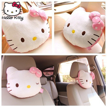 Hello Kitty 2PCS Accessories Car Headrest Pillow Cute KT Pink Auto Safety Seat Rest Support Pillows PP Cotton Neck Cushion