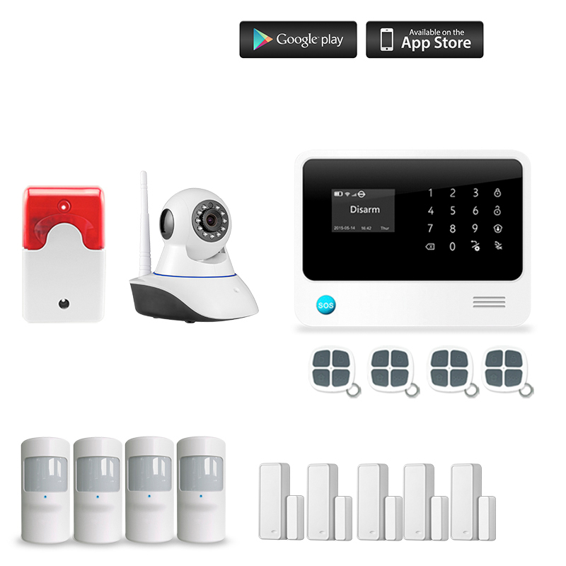G90B Plus GSM WIFI IOS Android APP Control Home Security Smart House Pet Immune Alarm System Fire Alarm smart android ios app controlled home alarm system touch keypad wifi gsm alarm system with pet immune motion detector siren horn