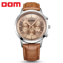 2017 DOM fashion men's watch large dial multifunctional sports waterproof genuine leather strap men's watches