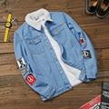 Nueva Moda de Invierno Denim Hombres de la Chaqueta de Lana Gruesa Caliente Activo Jeans Abrigos Hombre Azul Más El Tamaño 5XL Casuales Para Hombre Cazadora hombres