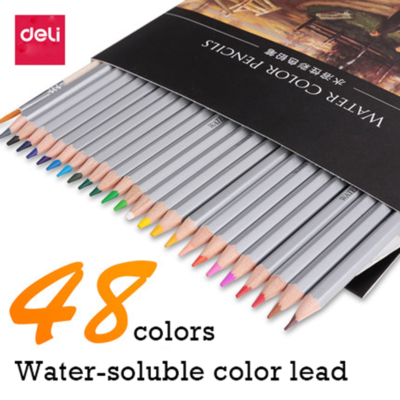 Deli color pencil set 24/36/48/72 colors soluble colored pencil with gift paper box drawing painting pencils colorful paint стоимость