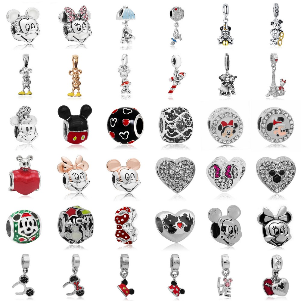 Dropshipping 2019 Pendant Beads Mickey Minnie Cartoon Crystal Beads Fit Original Pandora Charms Bracelets DIY Women Jewelry