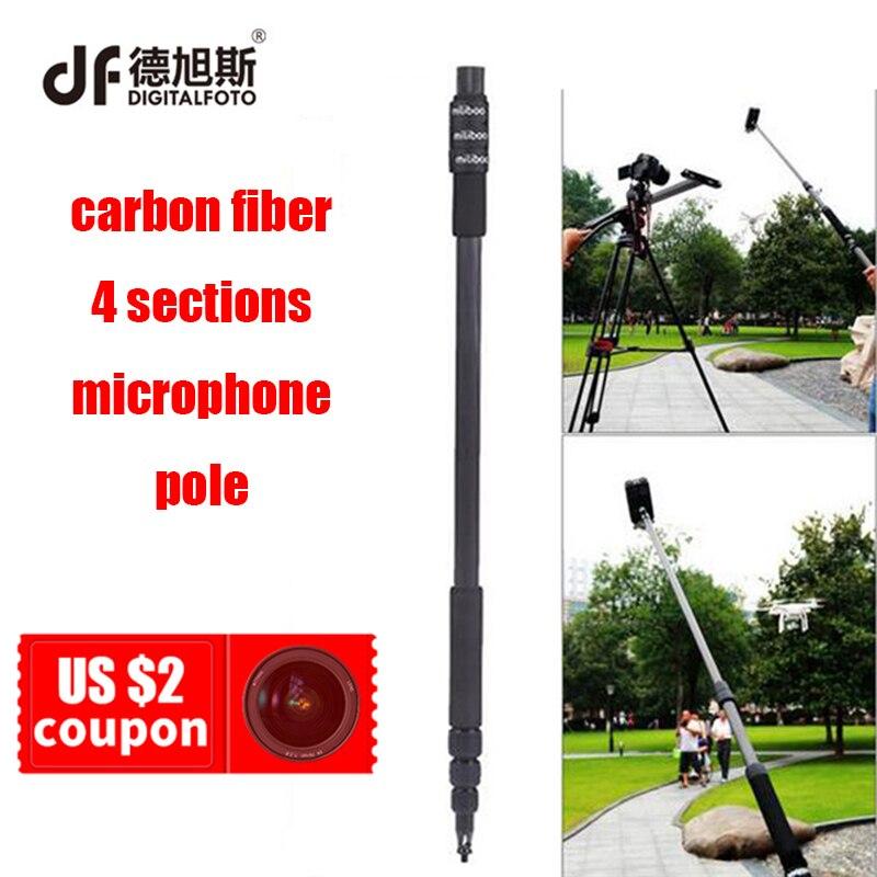 DIGITALFOTO MILIBOO portable carbon fiber 4 sections microphone pole Handheld Grip Support Rod Flash Light Boom for recording