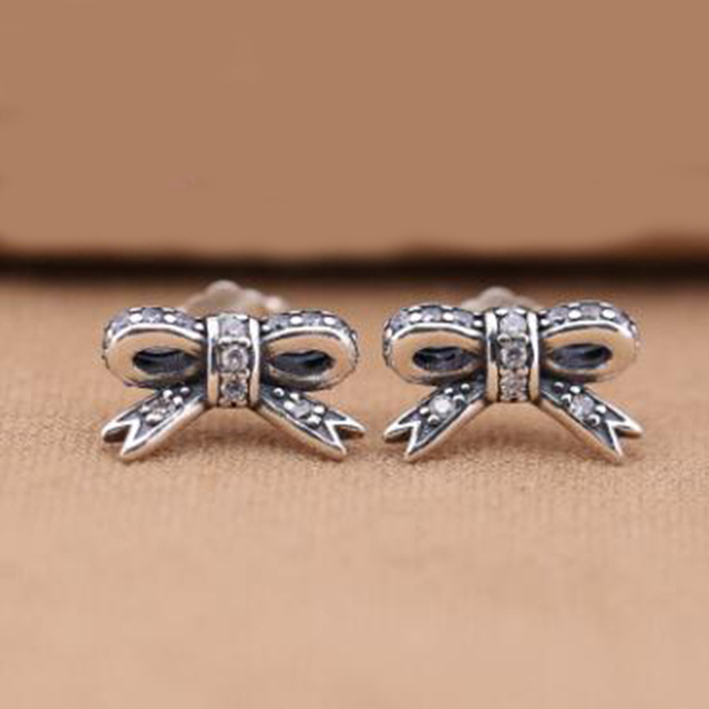 Us 13 99 2017 Clic Fashion Earrings S925 Sterling Silver Bow Suitable For Las Party Support Whole In Stud From Jewelry