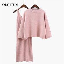 Осень зима женский шерстяной свитер Костюмы милый розовый вязанный пуловер свитер наборы Повседневный длинный рукав+ длинная юбка