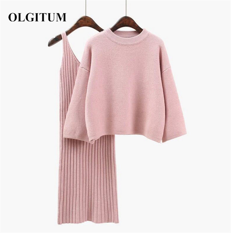 2019 Autumn Winter Women Wool Sweater Suits 2019 Sweet Pink Kniting Pulloverand Sweater Sets Casual Long Sleeve +Long Hip Skirt