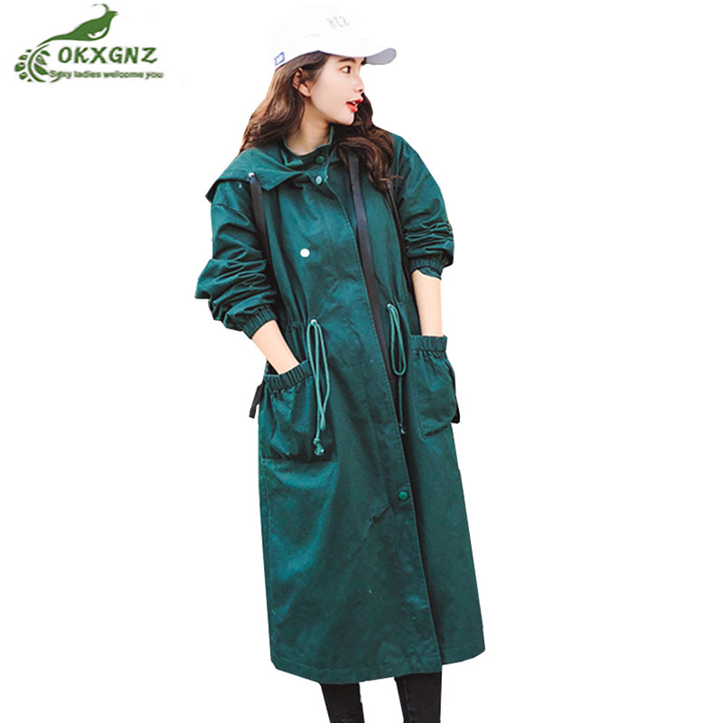 Casual Long Windbreaker Coat Female 2019 Spring Autumn Korean Slim Of the Loose Knee Outwear Hooded Women   Trench   Coat Tops