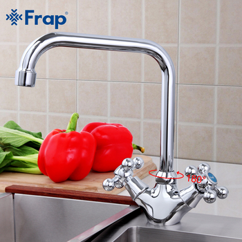 Frap Stylish 360 degree rotation Zinc alloy Body Kitchen sink faucet Hot and cold handle separation taps F4019 - discount item  46% OFF Kitchen Fixture