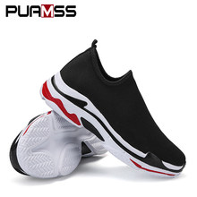 Marque Hommes Sneakers Beathable Maille Mâle Occasionnel Chaussures Slip sur Chaussette Chaussures Mocassins Garçons Lumière High Top Hommes Chaussures(China)