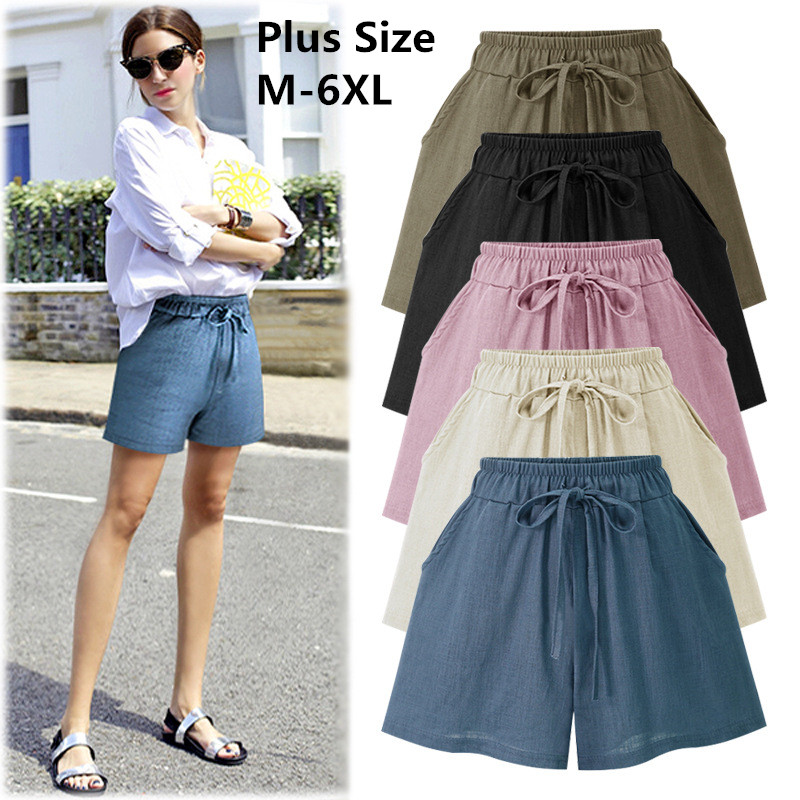 2019 Large Size Women Loose Cotton Shorts Women's Linen Shorts Casual Female Wide Leg Shorts Plus Size 6XL