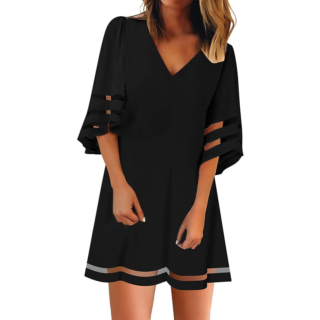 Women Dress 2019 Women 39 s V Neck Mesh Panel Blouse 3 4 Bell Sleeve Loose Top Shirt Dress Party Dress Vestidos Plus Size in Dresses from Women 39 s Clothing