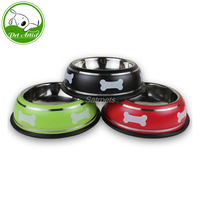 Stainless Steel Non Slip Pet Dog Bowl Puppy Cat Food Drink Water Dish With Bone Printed