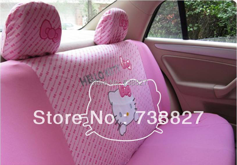 fedex or ems price10pcs set pink hello kitty seat cover set car interior decoration car. Black Bedroom Furniture Sets. Home Design Ideas