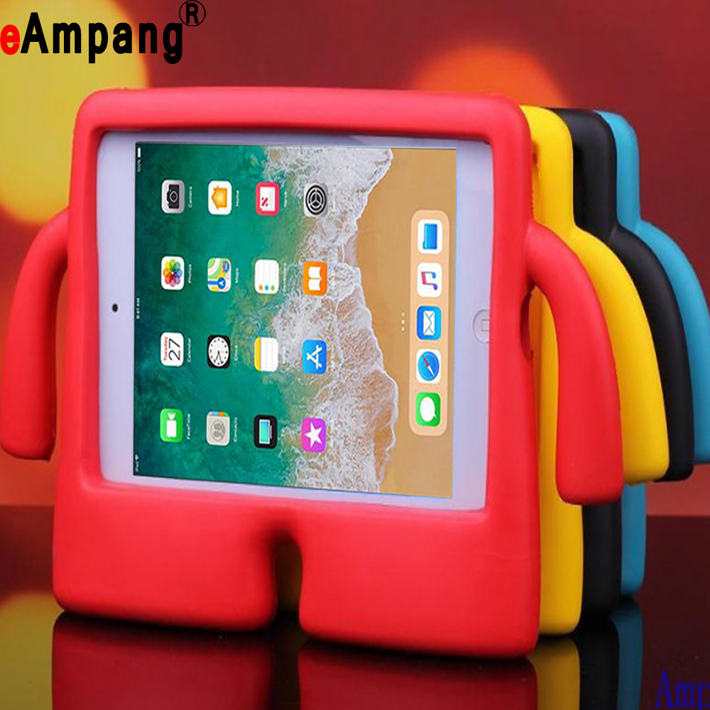 Shockproof Kids Safe Children Hand Foam Cartoon Stand Shell Cover Case for Apple iPad Air 1 2 Pro 9.7 2017 2018 A1893 A1822 Case for apple ipad 5 6 case for ipad air12 pro 9 7 tablet stand case shockproof children kids 3d cute cartoon case cover abalasta