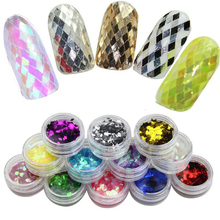 12 Boxes Holographic Nail Flakes 2mm Rhombus Colorful Holo Glitter Paillette Sequins for Art Decoration
