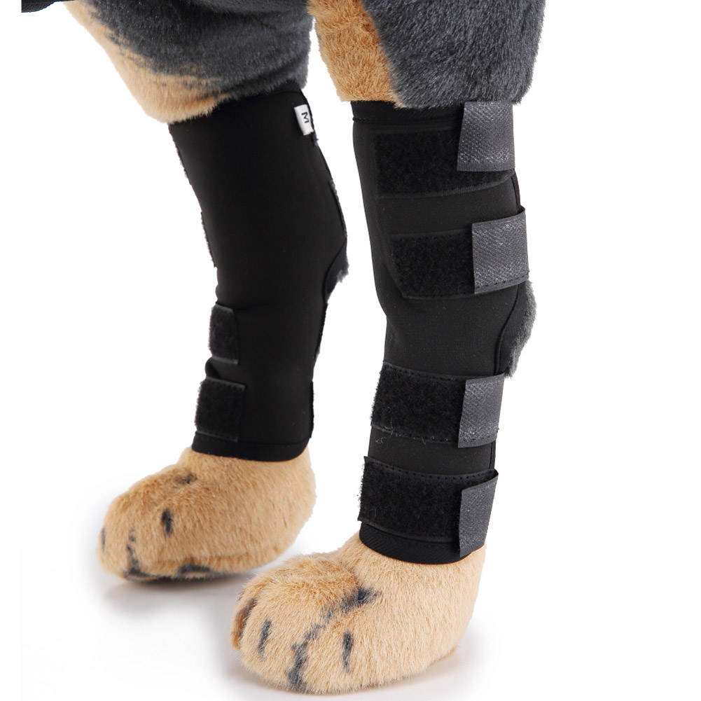 Black Pet Knee Pads Dog Support Brace for Hind Leg Hock Joint Wrap Breathable Injury Recover Hogard MY1618