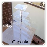 Exquisite clear acrylic cake tower/Details about 6 Tier Large Square Pole Acrylic Cupcake Stand Cup Cake Display decoration