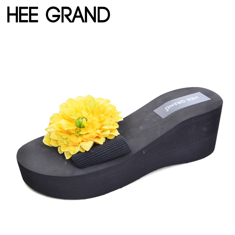 HEE GRAND Flowers Wedges 2017 Summer Platform Flip Flops Slip On Creepers Casual Shoes Woman 8 Colors Size 35-42 XWT639 hee grand 2017 creepers summer platform gladiator sandals casual shoes woman slip on flats fashion silver women shoes xwz4074