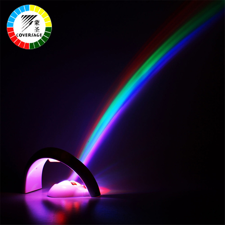 Coversage Rainbow Night Light Projector Children Kids Baby Sleeping Romantic Led Projection Lamp Atmosphere Novelty Home Lamps