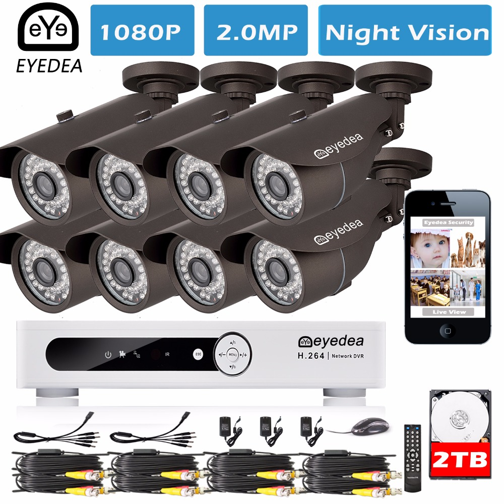 Eyedea 8 CH Phone View Email Alarm Video DVR 1080P Bullet Outdoor LED Night Vision Surveillance CCTV Security Camera System 2TB zosi 1080p 8ch tvi dvr with 8x 1080p hd outdoor home security video surveillance camera system 2tb hard drive white