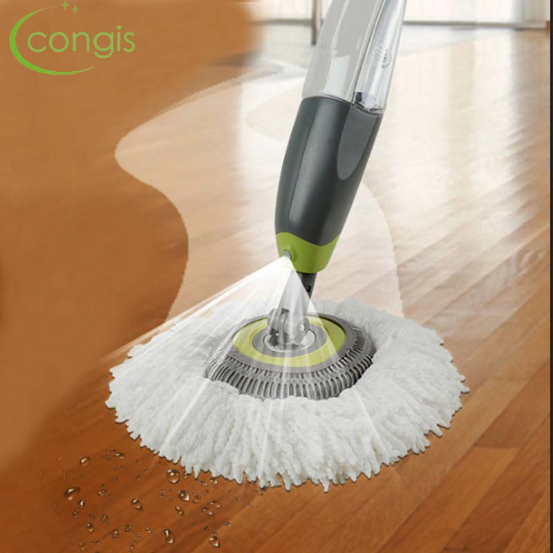Congis Round Head Spray Mop Superfine Fiber Mop Head Aluminum Alloy Metal Handle 360 Degrees Rotate