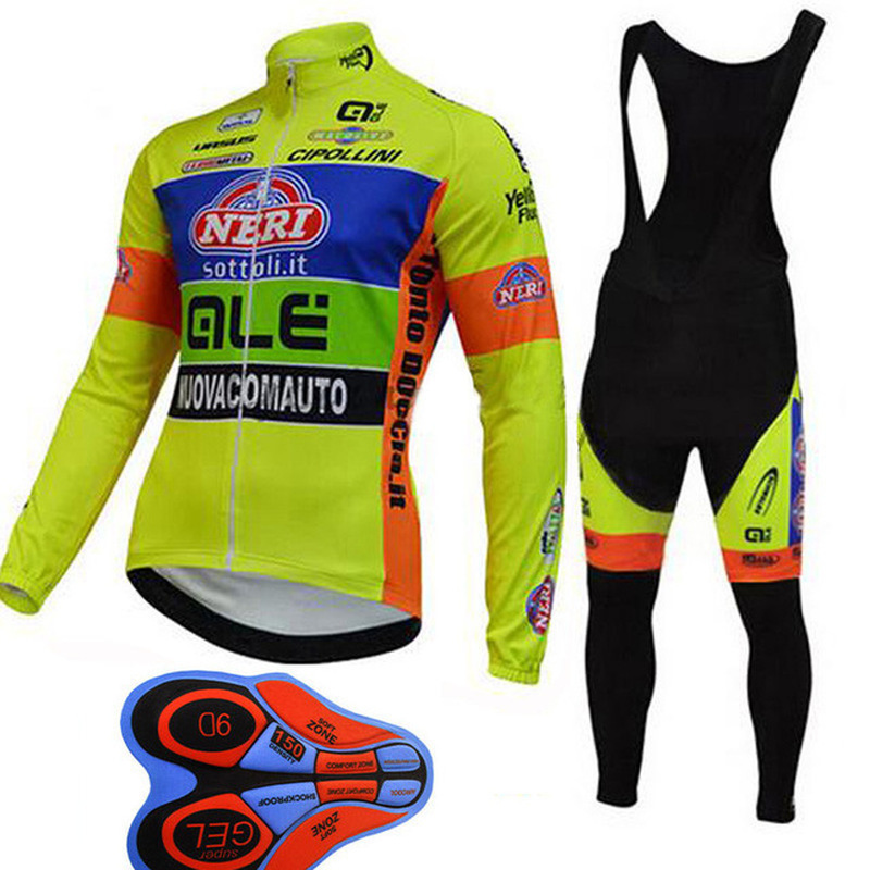 2018 Professional Team Bike Racing Jersey Set ALE Mountain Bike Mens Bike Jersey Yellow Riding Hood Spring