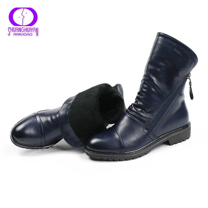 Женские винтажные полусапоги AIMEIGAO, демисезонные черные удобные сапоги, ботинки из мягкой кожи