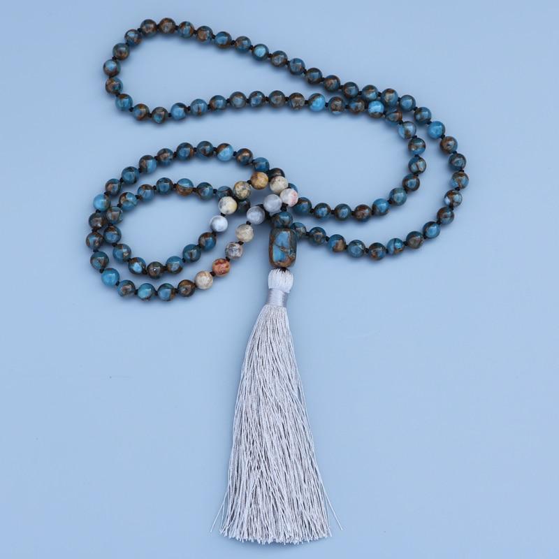 Image 2 - EDOTHALIA красивое ожерелье мала для женщин девочек 8 мм Mossic камень шарик и сумасшедший оникс бисером завязанный кулон ожерелье-in Ожерелья с подвеской from Украшения и аксессуары on AliExpress