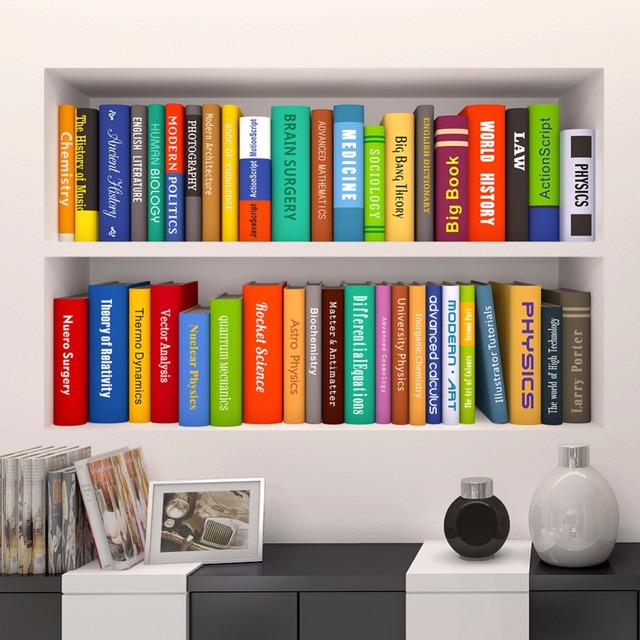 Fake Bookshelf Office Decorating Wall Stickers 3D PVC Removable Study Room  Bookcase Background Wall Art Sticker