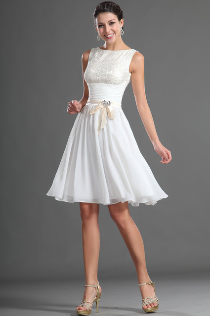 Custom Size Lace Top Knee Length White Chiffon Bridesmaid Dress