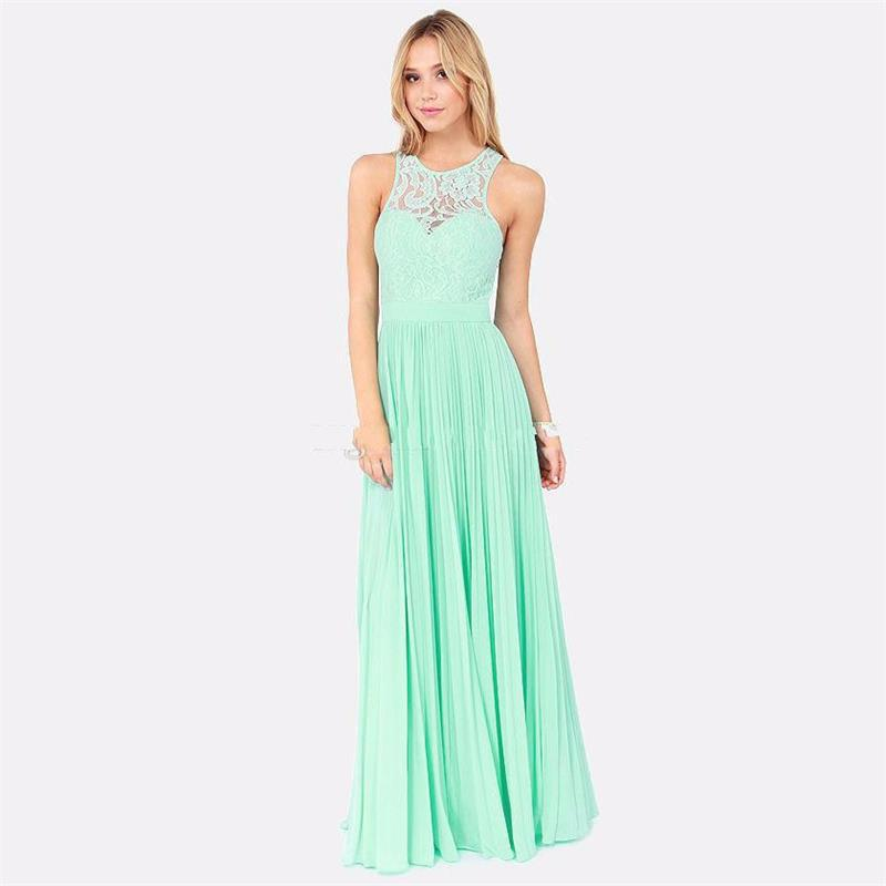 New 2016 spring mint green lace long bridesmaid dresses for Long wedding dresses under 100