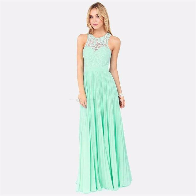 New 2016 Spring Mint Green Lace Long Bridesmaid Dresses Under 100 ...
