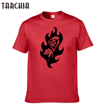 TARCHIA Men's T Shirts Fire Printed Round Neck Tees Shirts Summer Style Clothes Casual Short Sleeve 100% Cotton T-Shirts Homme