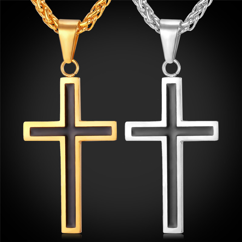 Cross Necklace & Pendant Christian Jewelry Wholesale 316L Stainless Steel Gold Color Chain Cross Necklace Men GP952
